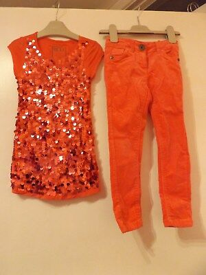 Next bright pink set / outfit top and jeans aged 4 years