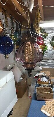 """Beautiful 9"""" Wide Real Purple Glass Vintage Mcm Hanging Swag Lamp Light"""