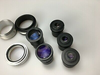 Lot 8 Microscope eyepieces Nikon 20x/12 and Olympus GSWH 10x/22 and lens nikon