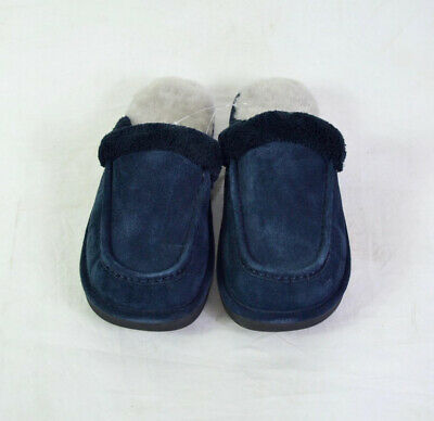 Nuknuuk Men's Leather Slippers- Navy (Size 8)