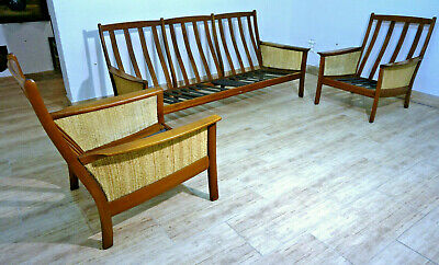 Knoll Antimott Designer Set Mid-Century Bank Sessel Sitzgarnitur teak furniture