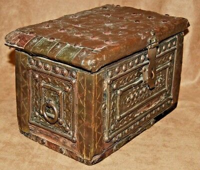 Antique Strong Box Chest Money Coin Casket Coffer Box Chest