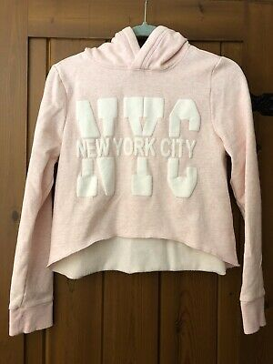 Girls Soft Pink White Hoodie Candy Couture Age 14 Short Curved Hem