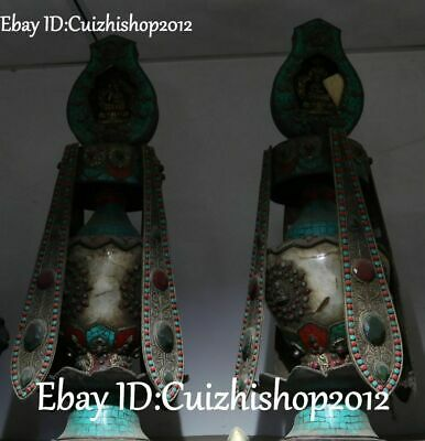 Natural Crystal turquoise coral Gem Buddha Flower Tower Pagoda Vase Pot pair