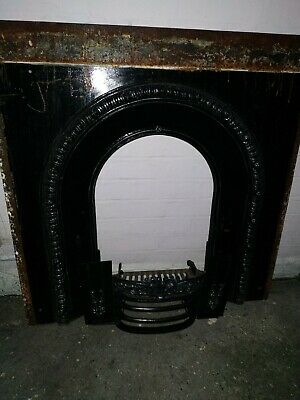 A Very Beautiful Old Cast Iron Victorian Fireplace