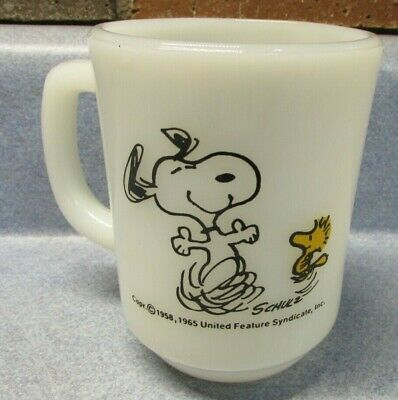 Snoopy 1958 life is pure joy Coffee Cup Fire King