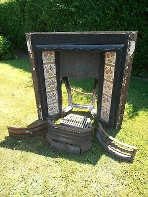 Victorian old floral tile ADAMS 400 CLACO cast iron fireplace with grate etc