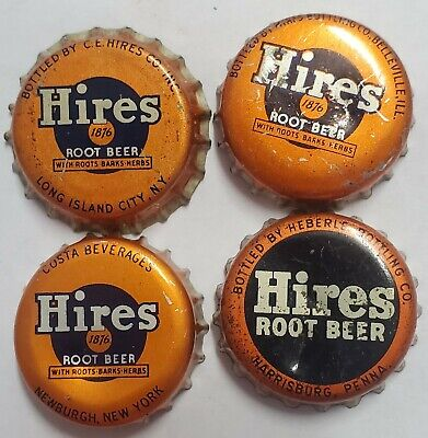 4 Different Hires Root Beer Cork Lined Soda Bottle Caps; 4 Cities; Used