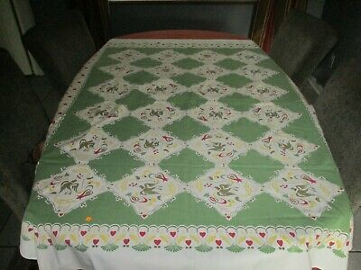 "Vintage Amish Design Cotton Doves Hearts And Flowers Lots Of Details 48""X60"""