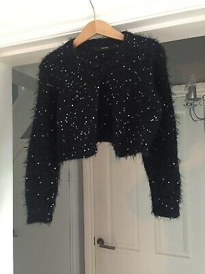 Girls Sparkly Girls Black Silver Cardigan Age 5/6 George Bolero Lovely Condition