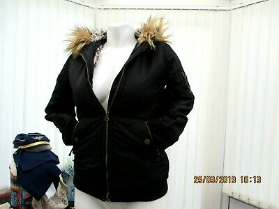 """next"" childrens black fur lined hooded jacket size 8 yrs old"