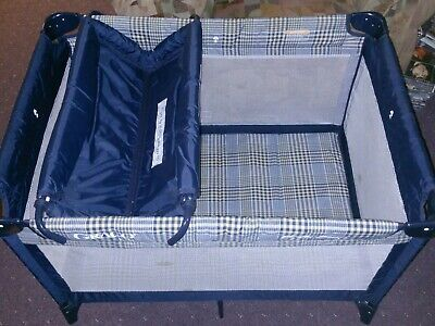 Graco Pack 'n Play Plaid Blue Portable Playard and Changing Station - Vintage