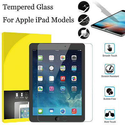 Genuine HD Tempered Glass Film Screen Protector Clear For Apple iPad ALL MODELS