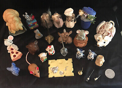 VTG LOT OF 25 -MOUSE, MICE, RAT FIGURE -Glass, Ceramic, Brass, Wood, Fur, Cloth