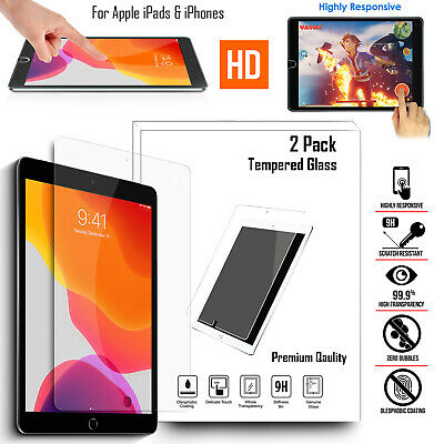 2 Pack Screen Protector HD Crystal Tempered Glass For Apple iPhone iPad Tablets