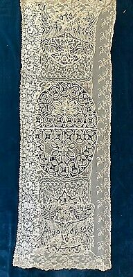 Antique Normandy? Lace Shawl / Runner, Fine Brussels Panel, 148 X 50 Cm