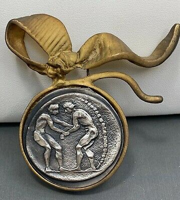 Vintage bronze silver ancient Greek Olympic medal Ribbon Pin Well Made Unusual
