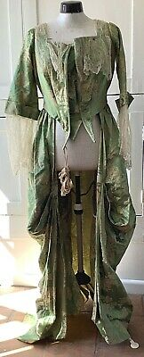 Antique Silk Damask Ladies Open Front Dress / Robe, Lace Sleeves And Trim