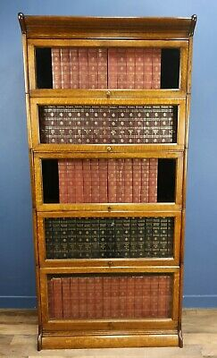 Antique Oak Globe Wernicke Style Barristers Bookcase C. 1900 Made By Of Gunn