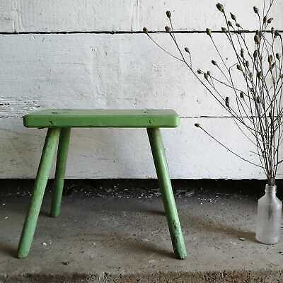 Traditional Vintage Central European Green Wooden Milking Stool or Step