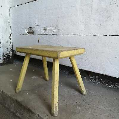 Traditional Vintage Central European Yellow Wooden Milking Stool or Step