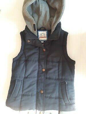 Girls Navy Gilet With Grey Jersey Hood, Age 12-13 Years