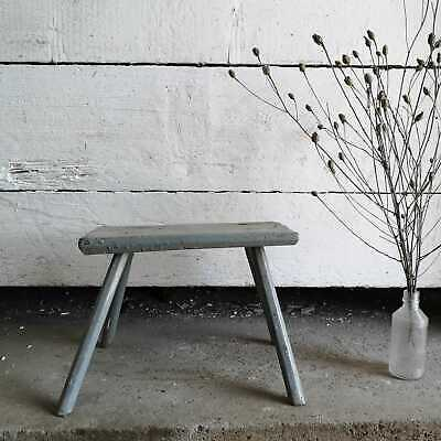 Traditional Vintage Central European Grey Wooden Milking Stool or Step