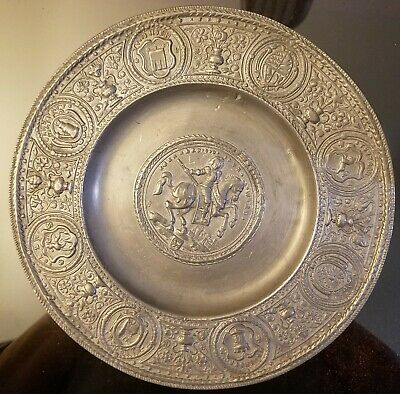 Antique 19th CENTURY GERMAN PEWTER PLATE