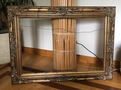 """VTG Massive Ornate Gold Gilded Wood Picture Mirror Rectangle Frame 45""""x32"""" WOW"""