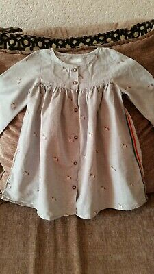 Next Girls Buttoned Front Dress Aged 2To 3 Years Grey With Unicorns