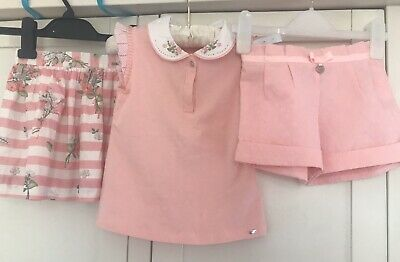 Mayoral 3 Piece Set Age 5/6 Girls Top Skirt And Shorts