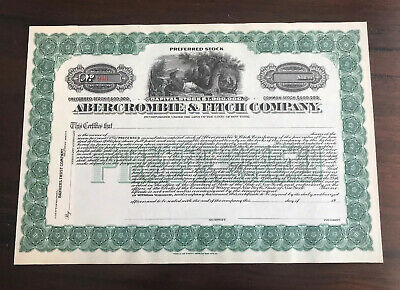 Unissued Preferred Stock Certificate Abercrombie & Fitch Authentic
