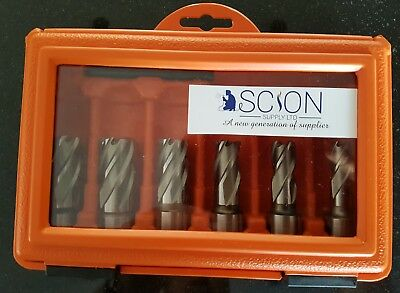 Quality HSS Mag Drill Annular Rotabroach Type Cutter Set 6 Piece Short in Case