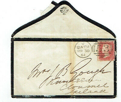 TWO 19th CENTURY MOURNING ENVELOPES + ONE LETTER - BATH, CLONMEL + SHEFFIELD