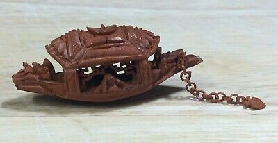 Vintage Fine Miniature Chinese Hediao Nut Carving of Boat with Anchor