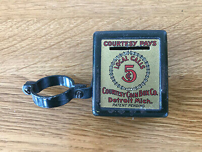 Vintage Courtesy Pays coin box for candlestick telephone