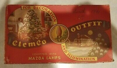 Vintage Clemco Outfit Christmas Lights w/Box