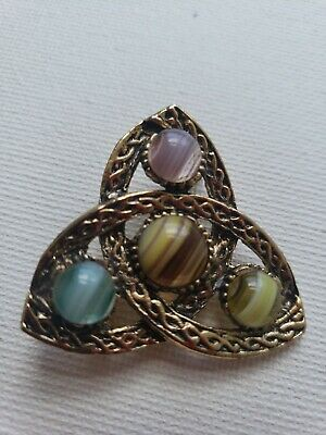 Celtic Triquetra  - Gold Tone Brooch/Pin With Glass Cabochons - UNIQUE