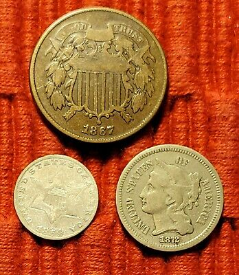 3 Coin Type Set 2 Cent & 3 Cent 1867 2c  1854 3cS. 1872 3cN