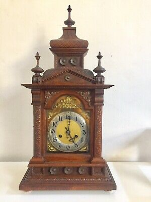Antique Large German Made Architectural  Carved Pine Wood Clock