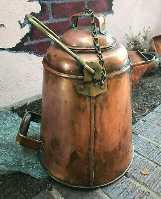 Large Frontier Antique Primitive Copper Coffee Pot Kettle Very nice condition
