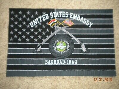 Rare Iraq Iraqi Baghdad Military United States Embassy Flag Banner Pennant
