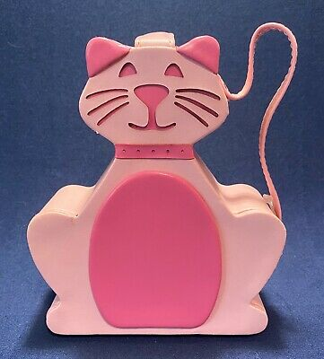 """PINK KITTY CAT JEWELRY CASE with SNAP CLOSURE and WRIST STRAP - 5.75"""" HIGH"""