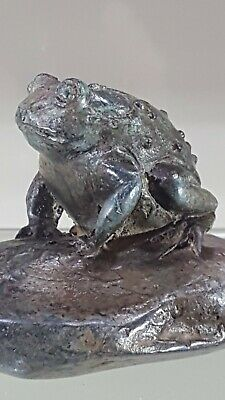 Small French Solid Bronze Frog By P. Chenet.