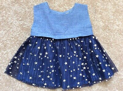 Gap Baby Girl Denim And Navy Dress with Silver Stars Age 0-3 Months
