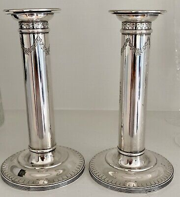 Beautiful,  Elegant, antique sterling silver column candlesticks C 1920
