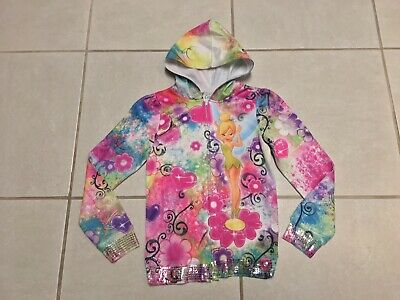 Tinker Bell Hoodie Full Zip Girls Size Lrg (10/12) Multi-color & Sequins