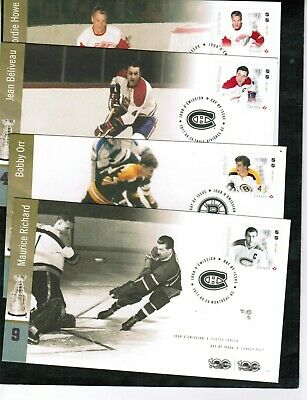 "CANADA 2017  FAMOUS HOCKEY PLAYER ""P"" stamp 4 FDC cat #new  $7.00++ MNH  BOX 548"
