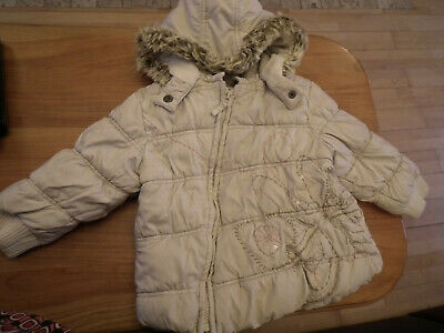 Girl clothes, Jacket with hood, Coat, Winter, White, NEXT, Size: 2-3 years (159)