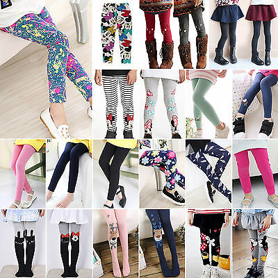 Girls Thick Thermal Legggings Full Crop Stetch Printed Long Socks Tights 2-12Yrs